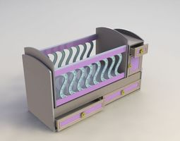 baby crib design 3d model