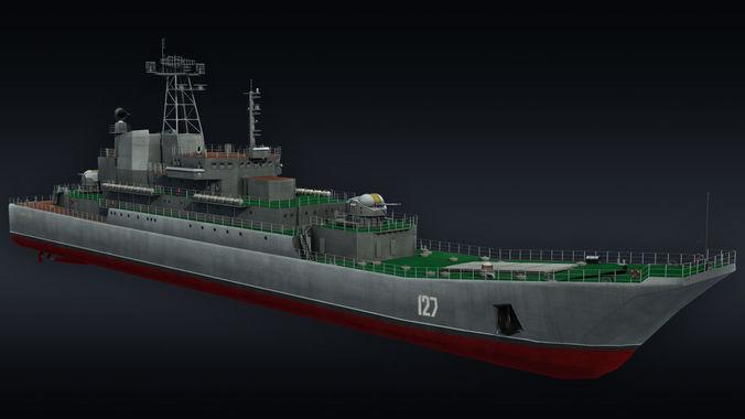 landing ship llc minsk project 775 3d model max obj mtl 3ds fbx 1