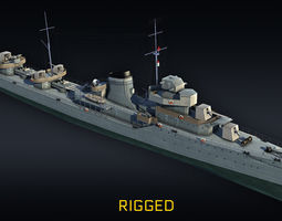 Destroyer RIGGED project 7 Gremyashiy 3D