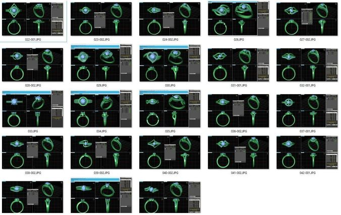 collection- bulk rings-0016-3dm with stones-23 files 3d model stl 3dm 1