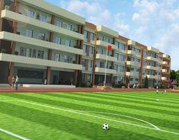 3D School football field