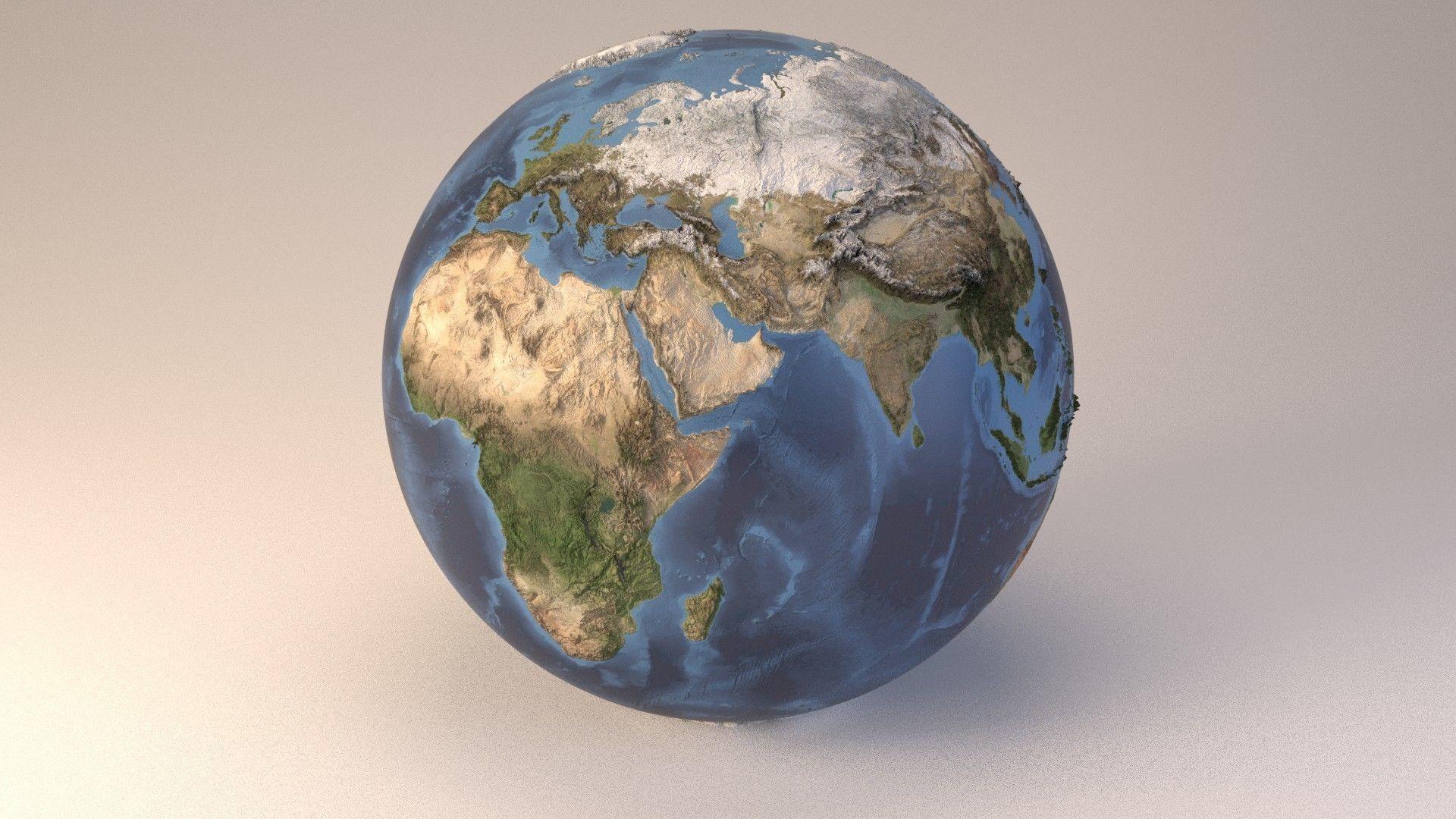 Earth globe embossed