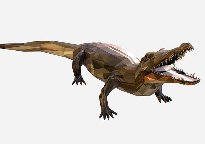 animated animal low poly art crocodile reptile 3d model animated max obj mtl fbx ma mb 1