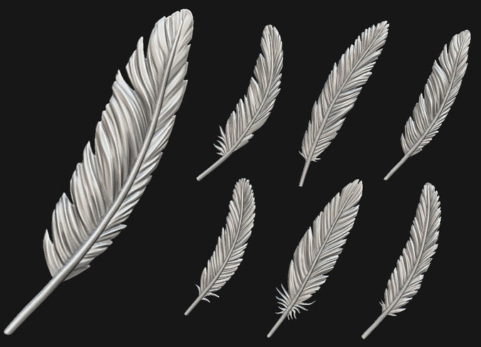 feather set 3d model obj mtl 1