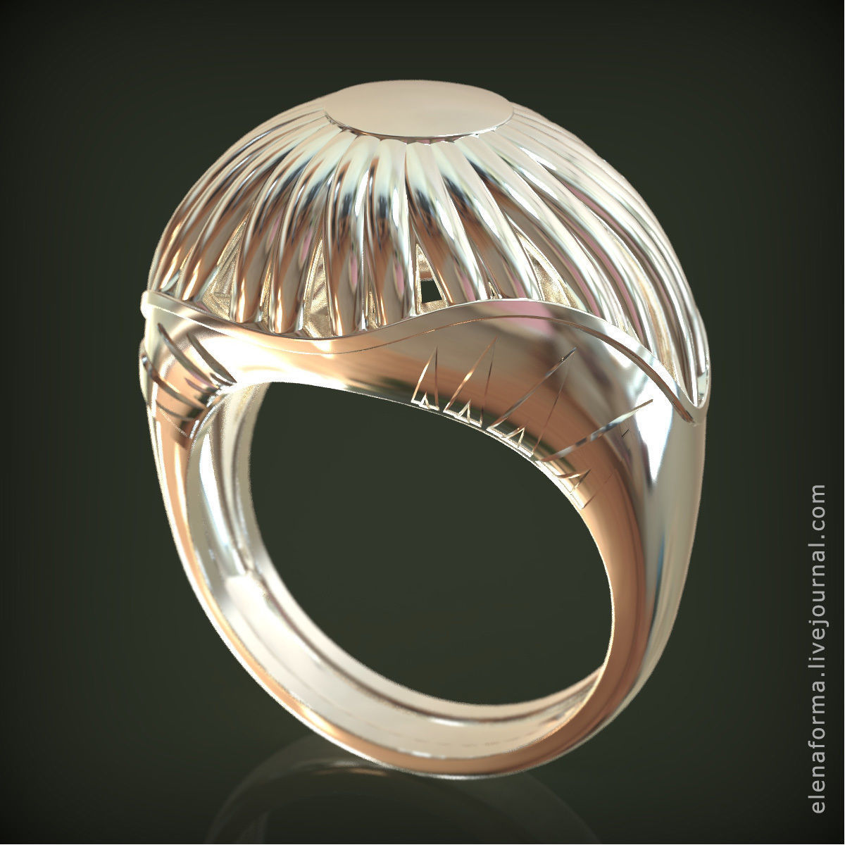 Ring in art Deco style with sun flower