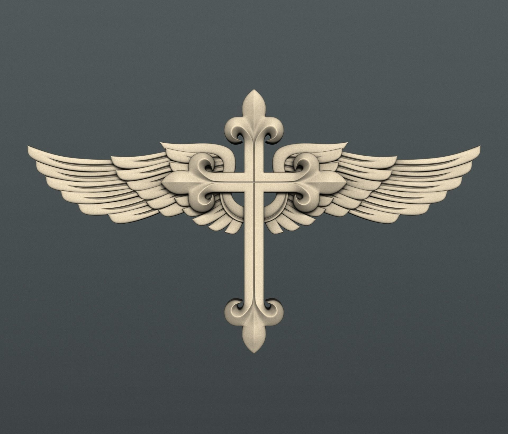 3d STL models for CNC cross with wings