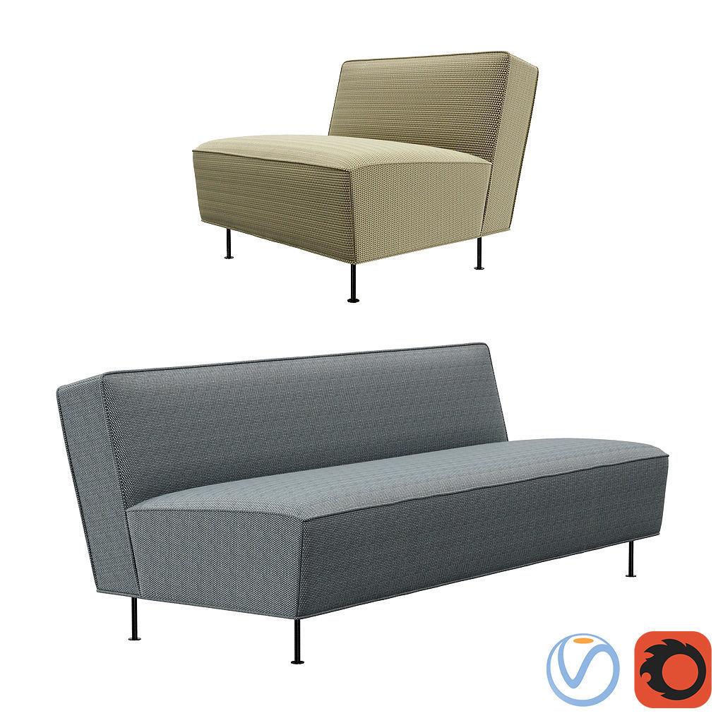 Enjoyable Gubi Fauteuil Modern Line Sofa And Lounge Chair 3D Model Machost Co Dining Chair Design Ideas Machostcouk