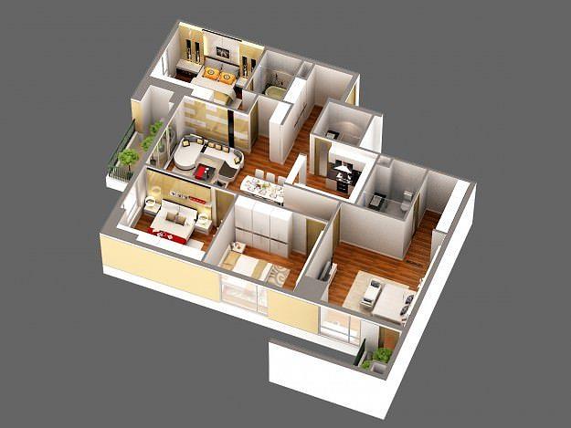 3d Model Detailed House Cutaway View 3d Model Max Obj Mtl
