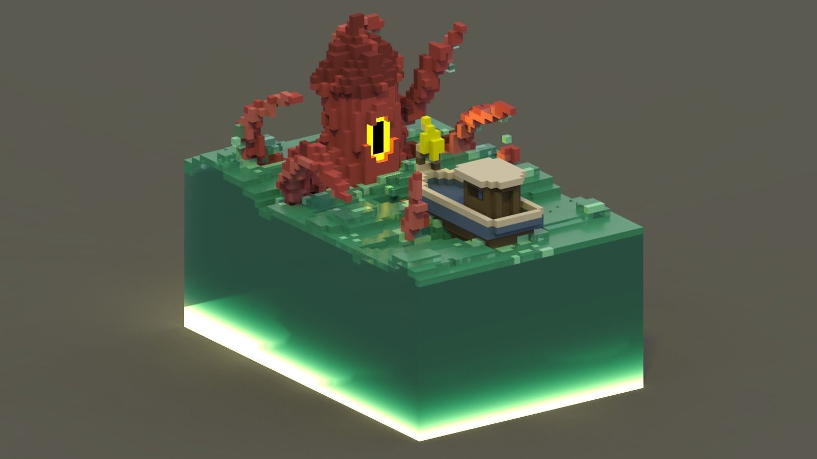 Sea Monster Voxel Scene
