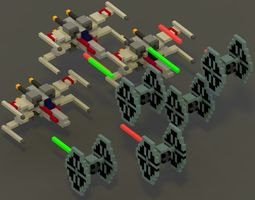 3D asset Star Wars Voxel Scene