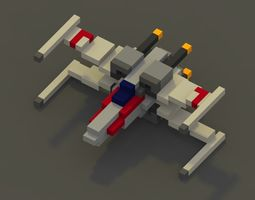 3D asset realtime Voxel X-Wing Fighter from Star Wars