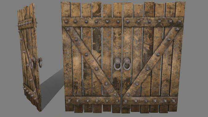 medieval door   3d model low-poly obj mtl fbx blend 1
