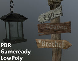 Medieval road sign 3d model - Ready for VR AR game-ready 1