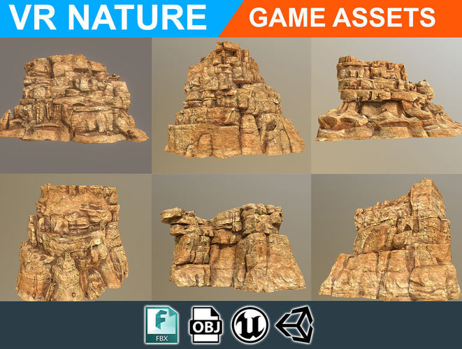 low poly realistic desert cliff pack 180609 3d model low-poly obj mtl 1
