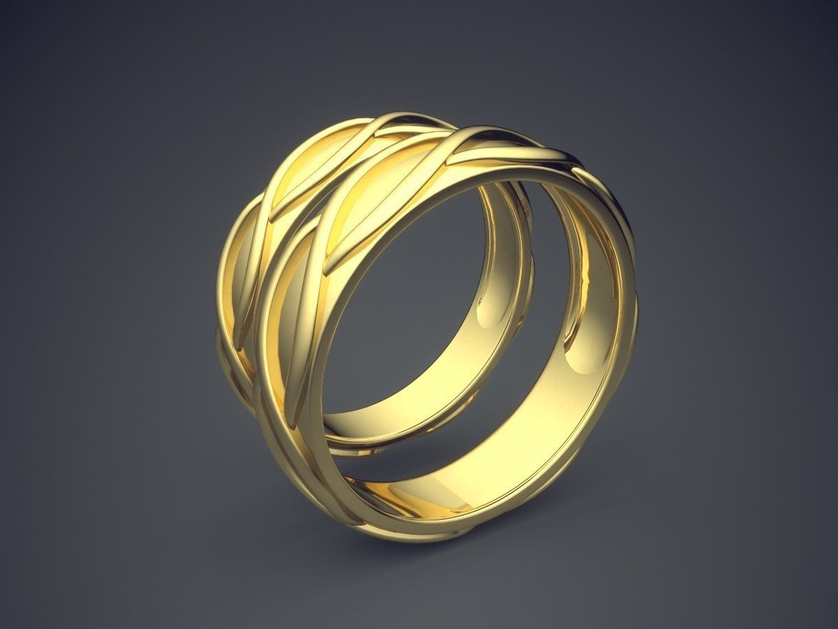 Classic Golden Wedding Ring With Braiding Details
