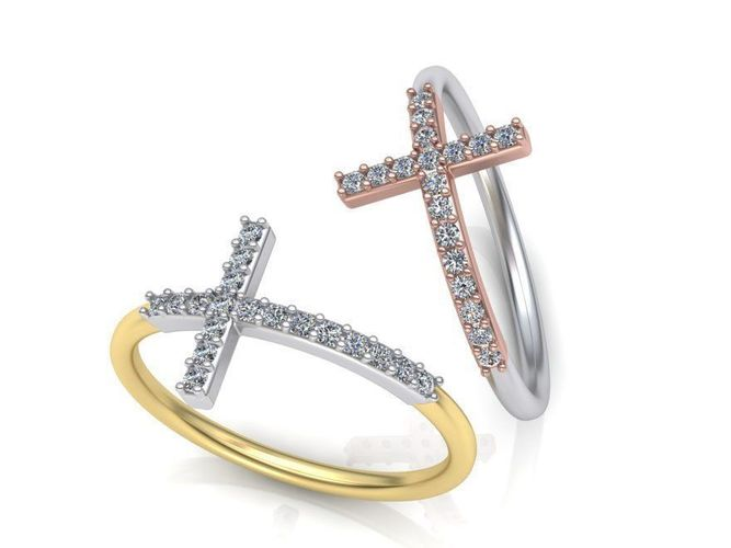 cross ring with diamonds delicate design 0253 3d model stl 3dm 1