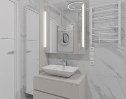 Cozy shower room with marble tiles 3D model