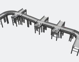 3D model roller conveyor
