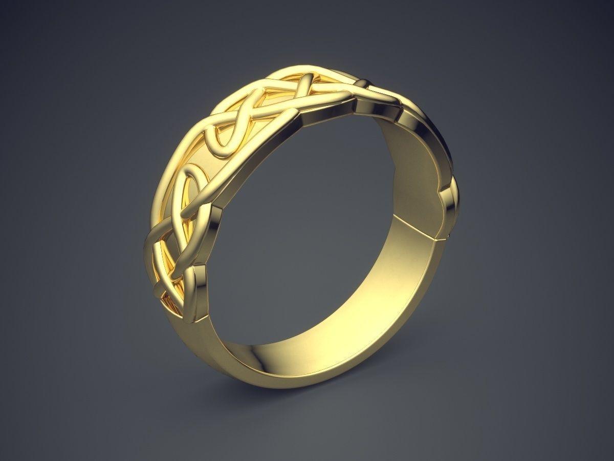 Simple Golden Ring With Unique Braiding Design