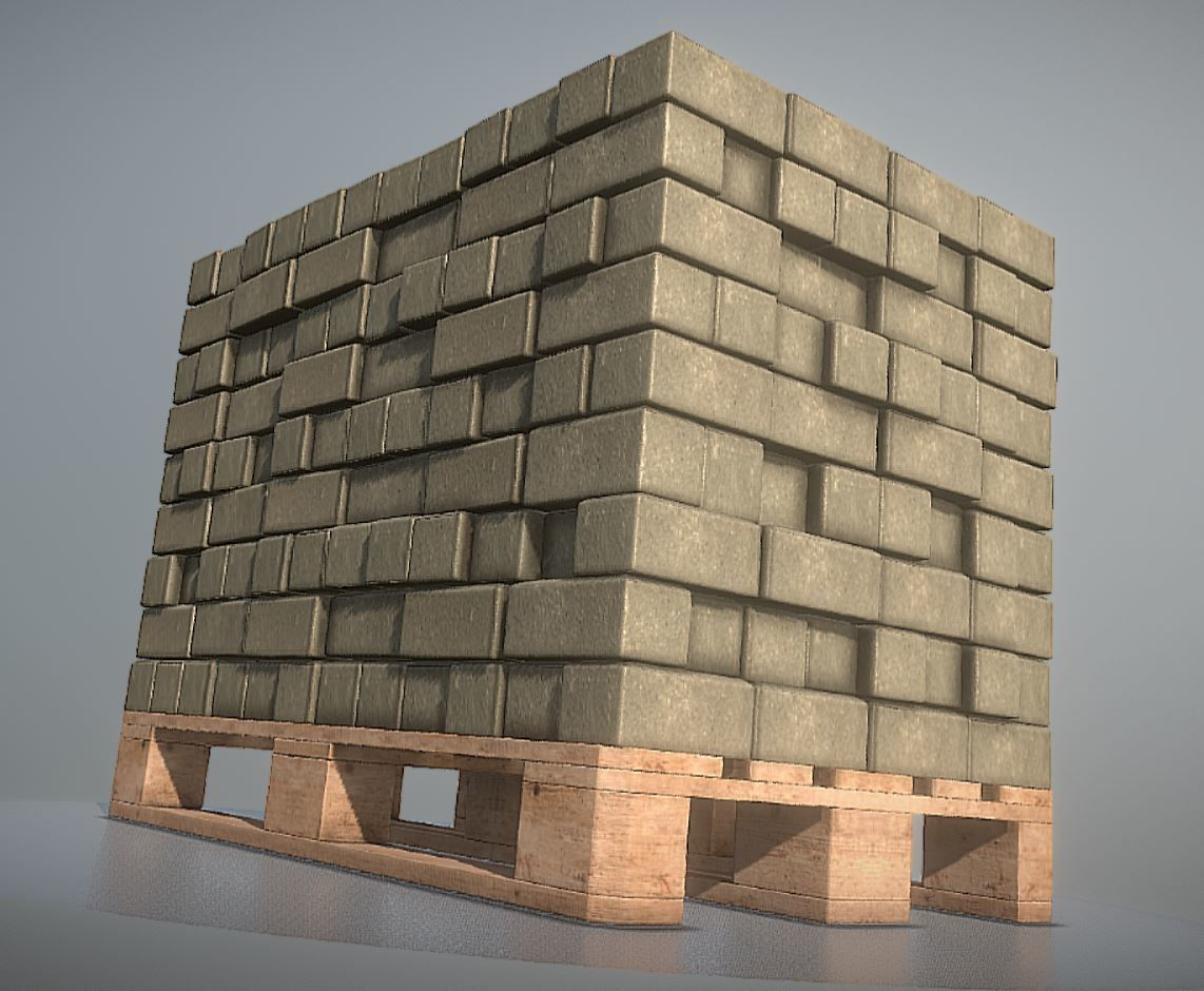EUR Wood Pallet with Paving Stones  High-Poly