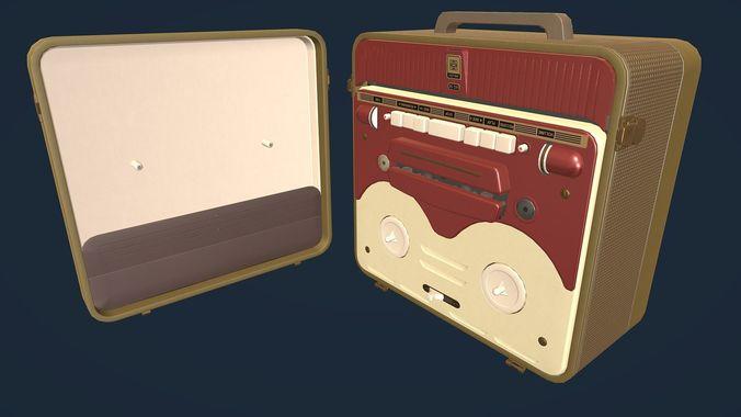 MG56 Retro Bobbin Tape Recorder Lowpoly   3D model