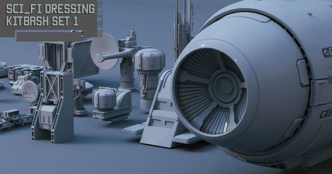 scifi dressing kitbash set 1 3d model max obj mtl fbx stl 1