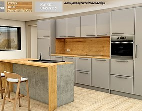 3D model modern kitchen with island