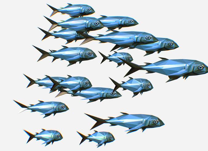 animated low poly art flock green sea fish 3d model animated max fbx ma mb tga 1