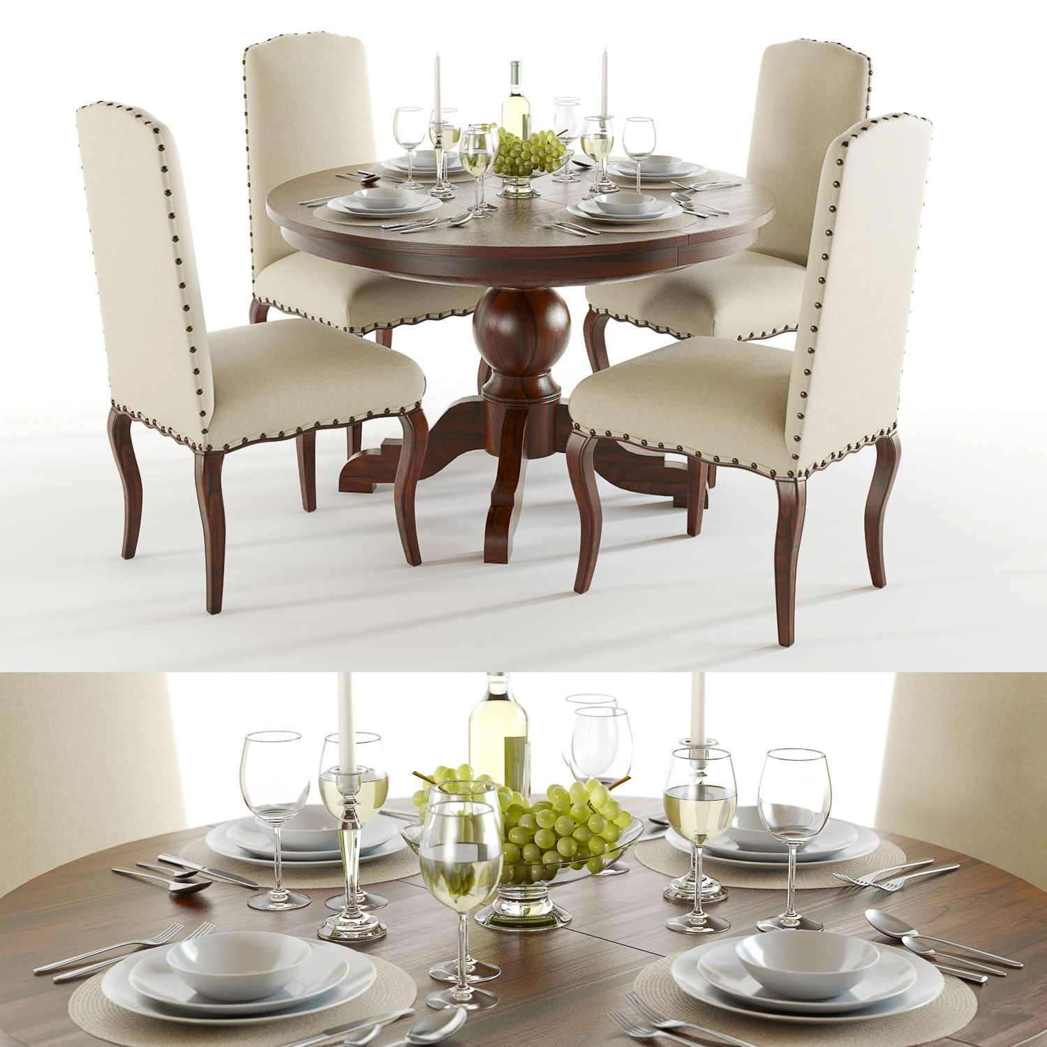 Pottery Barn - Sumner and Calais Dining set | 3D model
