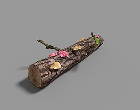 low poly forest log 3D asset