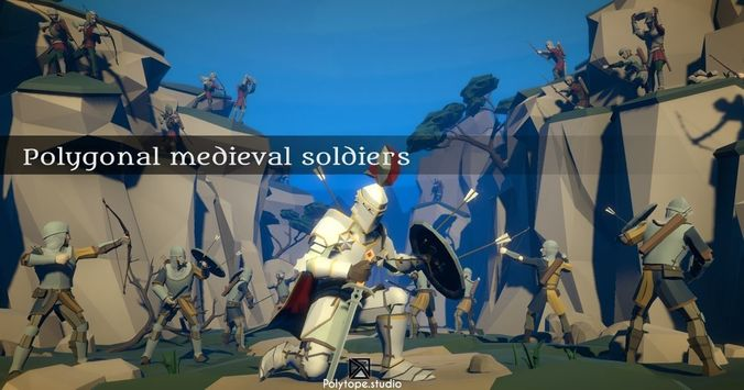 lowpoly medieval world - lowpoly medieval soldiers pack  3d model low-poly rigged fbx tga 1