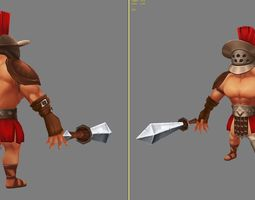 lowpoly 3D asset Gladiator Low-Poly