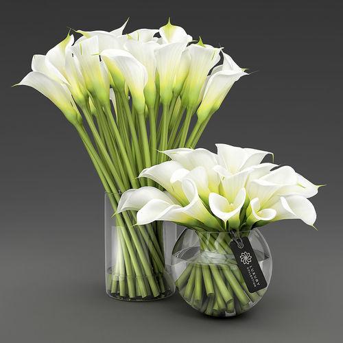 two vases with calla lilies 3d model max obj mtl fbx stl mat 1