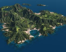 3D model Green island in Vue