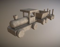 3d model low poly wooden toy train game-ready PBR