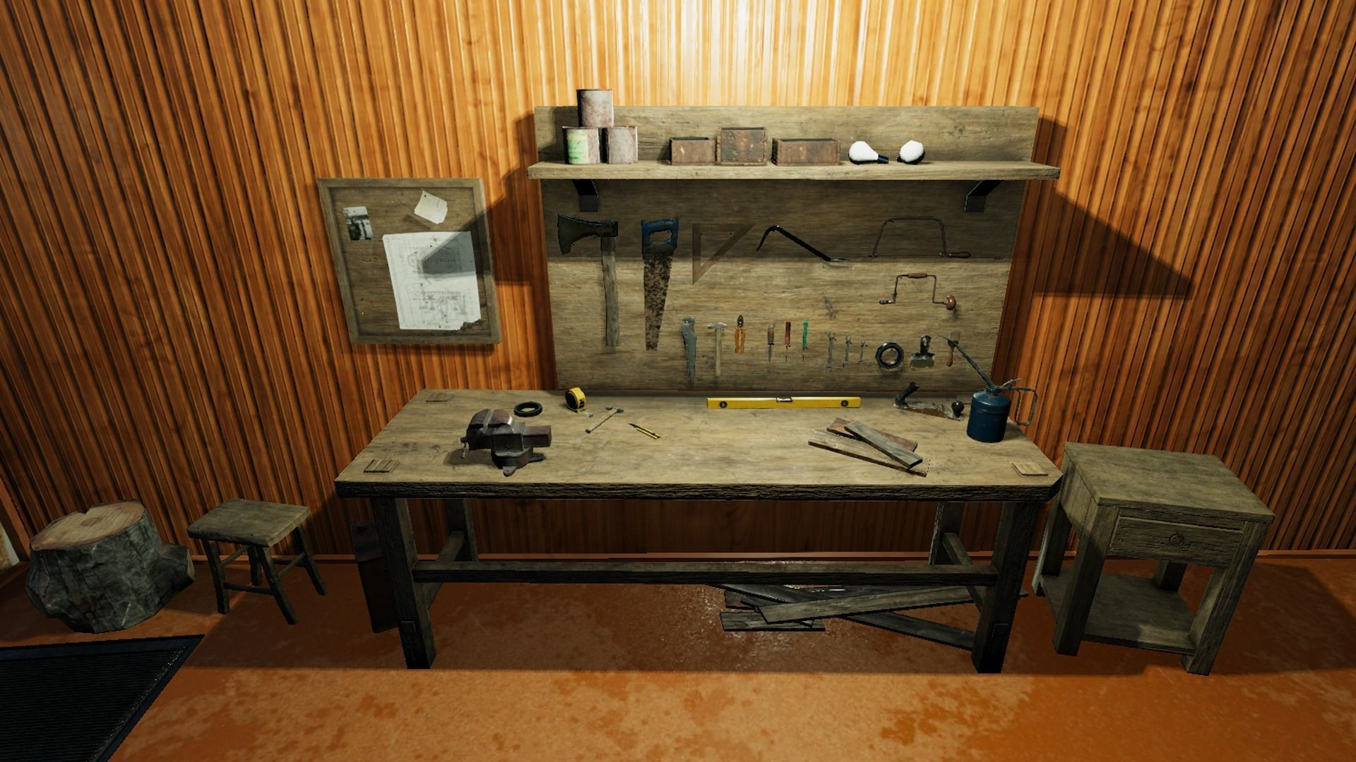 Magnificent Workbench With Tools 3D Model Evergreenethics Interior Chair Design Evergreenethicsorg