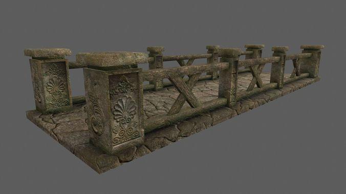 bridge 3 3d model low-poly obj mtl fbx blend 1