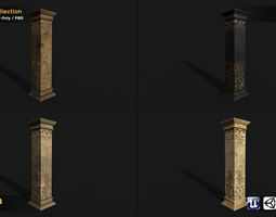 column 4in1 collection PBR 3d model game-ready