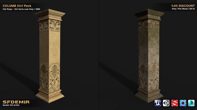 column 2in1 collection 3d model max obj mtl 3ds fbx 1