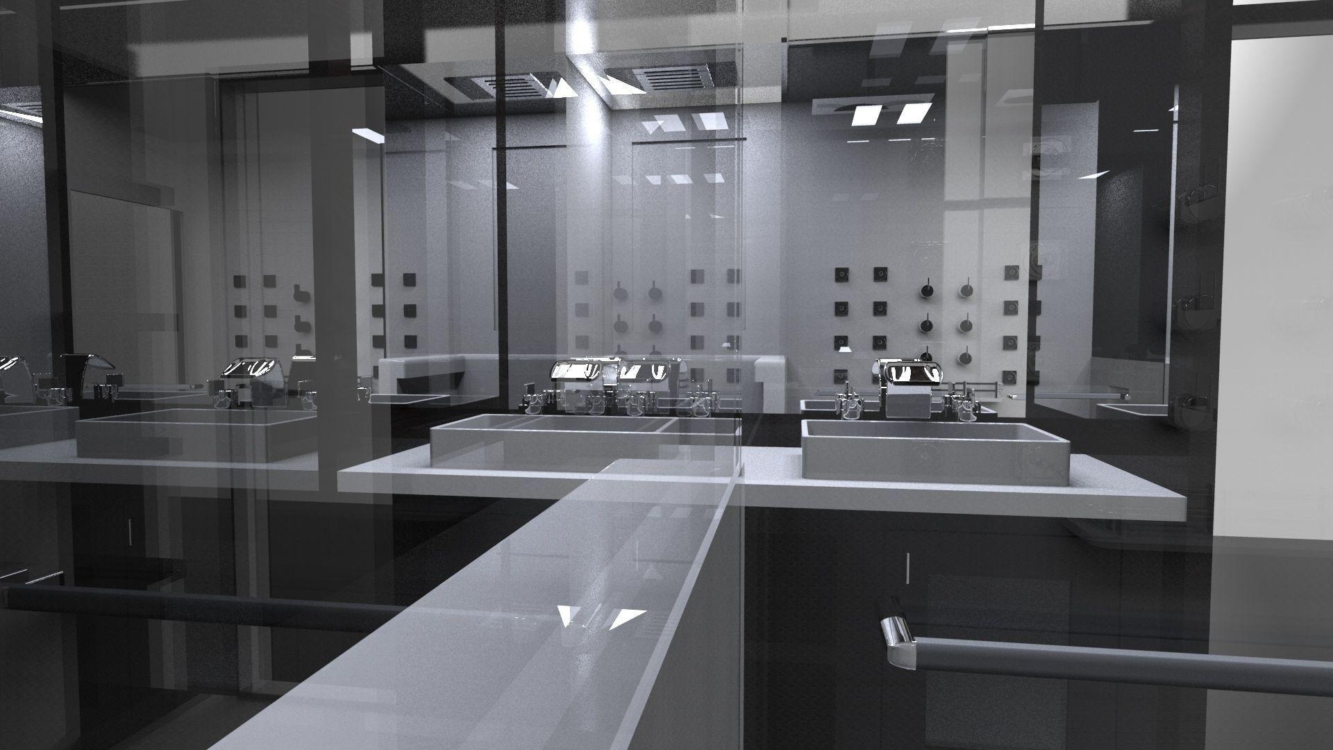 Interior small bath free 3d model for Small bathroom design 3d