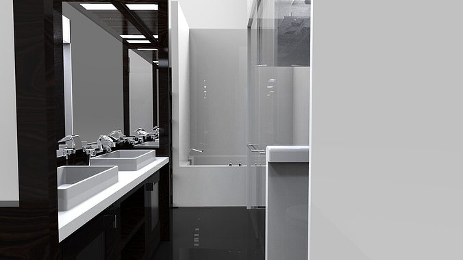 Interior small bath free 3d model for New bathroom models