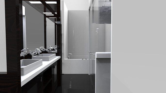 Interior small bath free 3d model for New model bathroom