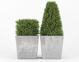 Bush concrete pot 3D model