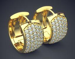 3D printable model Thick Luxurious Diamond Earrings