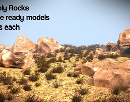 Low poly rock game assets 3D Model