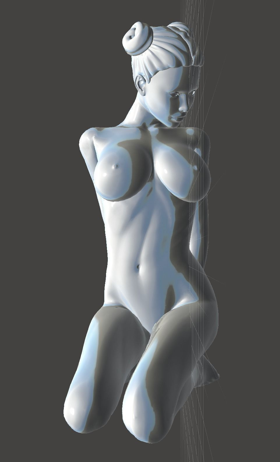 Kneeling Nude Girls Two 3D Model 3D Printable Stl -4205