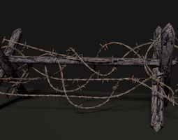 3D asset Barbed Wire Barricade