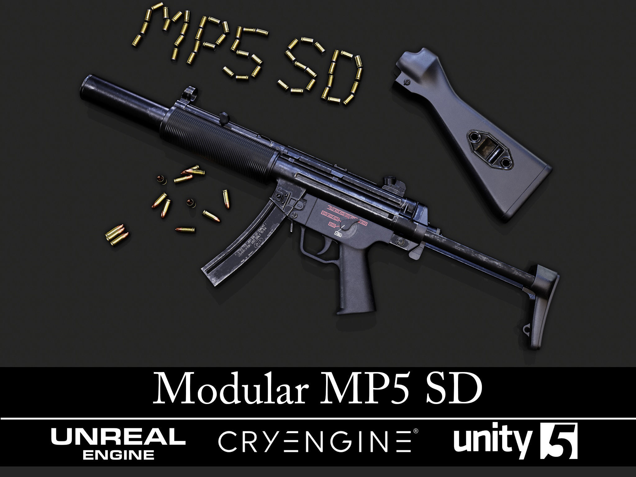 Modular MP5 SD - Textured - Game Ready