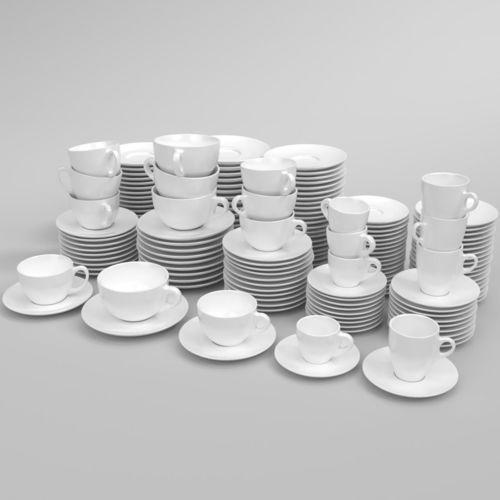verona coffee cup set oprtimized blender cycles 3d model obj mtl fbx blend 1