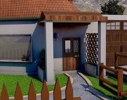 REALISTIC HOUSE WITH ANIMATED SWIMMING POOL 3D